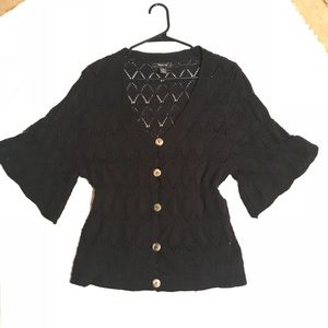 Style &Co black bell sleeve cardigan Sz medium